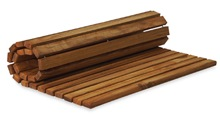 Roll up teak bath mat